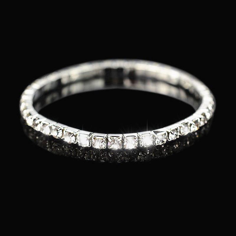 2018 TOP Rhinestone silver single-row sparkling crystal elastic Charm bracelet wedding bangles bracelet on valentine's day #B001