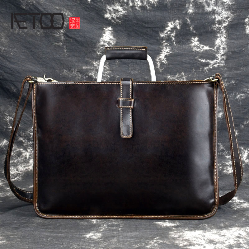AETOO Crazy Horse Leather Briefcase For Man Coffee Color Vintage Men Genuine Leather Messenger Bag Business Bags Male