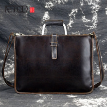 AETOO Crazy horse leather briefcase for man coffee color vintage men genuine messenger bag business bags male
