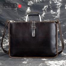 купить AETOO Crazy horse leather briefcase for man coffee color vintage men genuine leather messenger bag business bags male по цене 2836.46 рублей