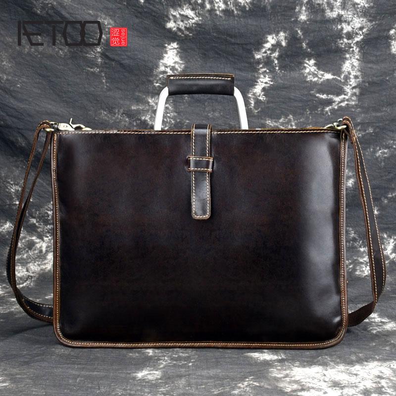 AETOO Crazy horse mallette en cuir pour homme couleur café vintage hommes véritable sac messenger en cuir sacs d'affaires homme