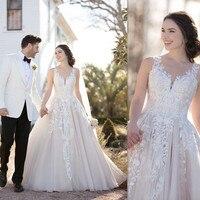 Модное бальное платье с кружевными цветами и аппликацией, маленькое свадебное платье из тюля с v образным вырезом и открытой спиной