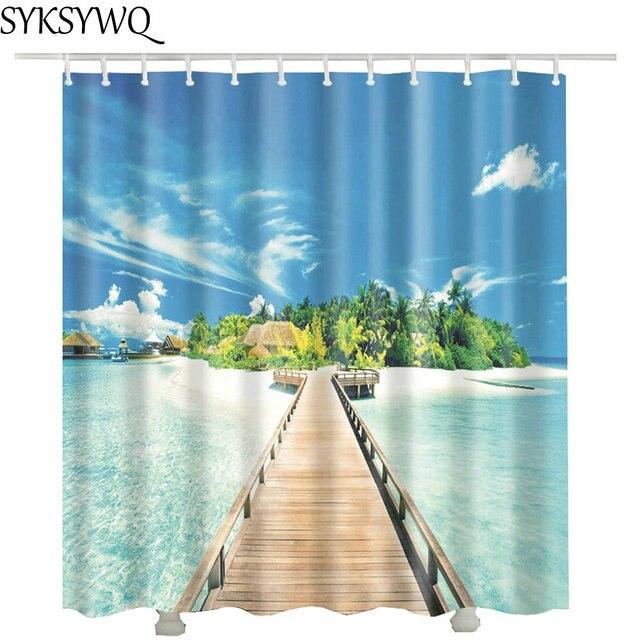 Wood Bridge Blue Ocean Shower Curtain Hot Sale Gift Private