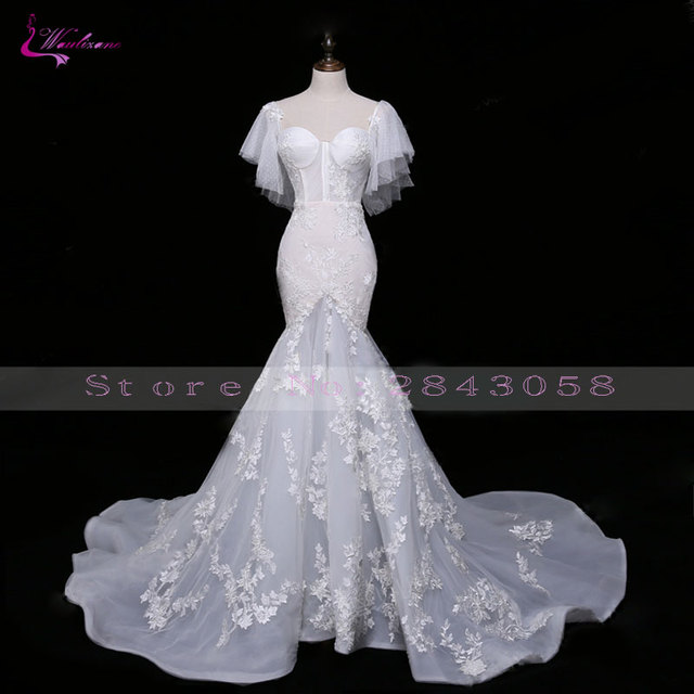 db7b5e1e6a Waulizane Sparkly Embroidery Sexy Sweetheart Mermaid Wedding Dress Hot Sale  Elegant Appliques Court Train Lace Up Bridal dress -in Wedding Dresses from  ...