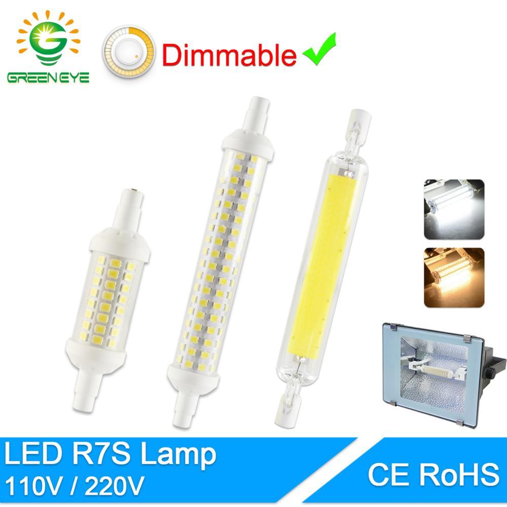 Green Eye R7S J78 J118 J135 Led Bulb Dimmable Corn Lamp 78mm 118mm 189mm Replace Halogen 50W Floodlight Spot Light AC 110V 220V