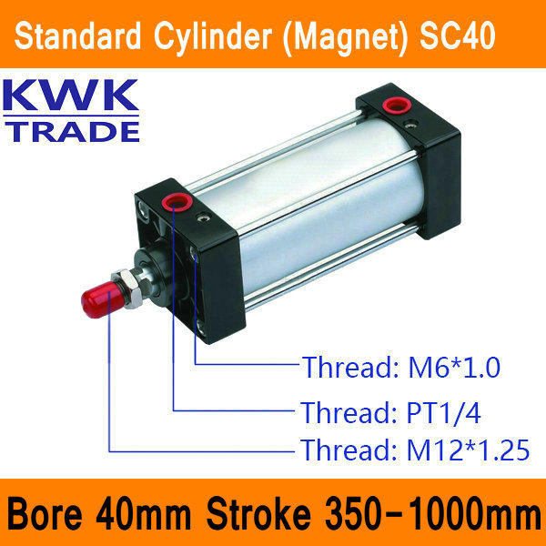 SC40 Standard Air Cylinders Valve Magnet Bore 40mm Strock 350mm to 1000mm Stroke Single Rod Double