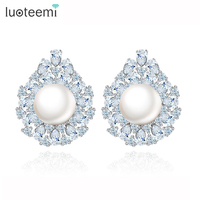 Teemi New Design Luxury Big Pearl Earrings Jewelry Wedding Sweet White Gold Plated Party Stud Brincos