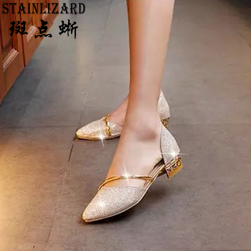 Women shoes 2017 New style summer pointed toe flats Female heels sequined Cut-outs sweet casual  women flats shoes ST742 fashion pointed toe women shoes solid patent pu brand shoes women flats summer style ballet princess shoes for casual crystal