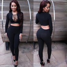 2016 Sexy Women Two Piece Outfits Halter Bandage Long Sleeve Tops + Bodycon Pants Leggings