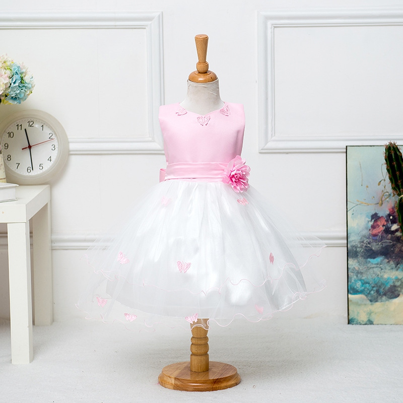 Flower Girls Kids Toddler Baby Princess Sleeveless Party Pageant Wedding Dresses Girls Clothes L6 xenium