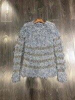 Осенне зимние модные открытые Женские топы с кисточками и длинными рукавами, Одноцветный полосатый Женский свитер для подиума