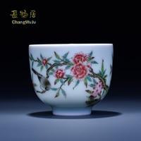 Changwuju in Jingdezhen Cups &Saucers Kung Fu tea cup ware handmade famille rose tea bowl painted by Jinhongxia longquan celadon