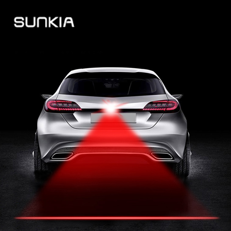 SUNKIA Shining Anti Collision Rear-end Car Laser Tail Fog Light Auto Brake Parking Lamp Rearing Warning Light Car Styling