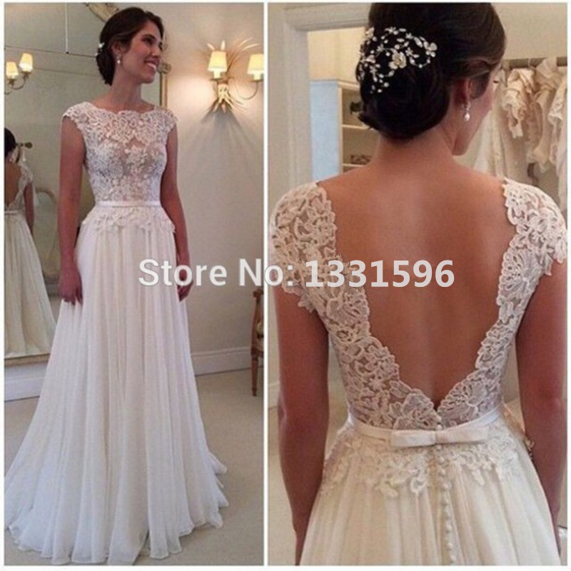 vestidos de novia a line escote festoneado de encaje manga del