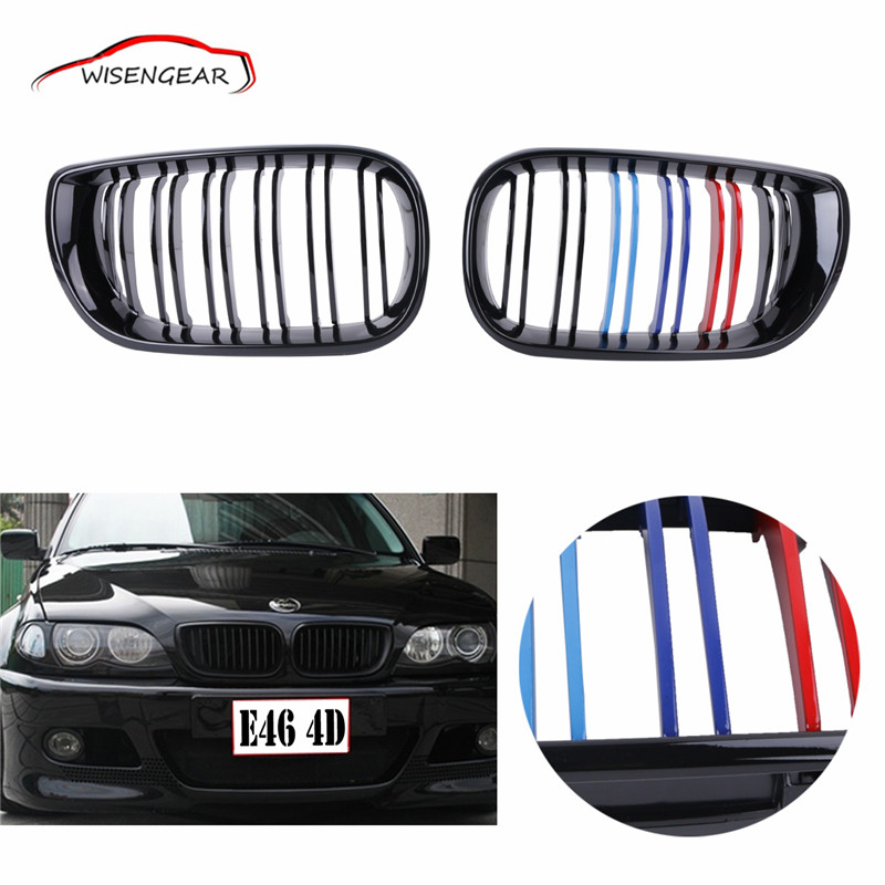 3 Series E46 Gloss Black Dual Slat M-color Front Kidney Grille Grill Double Line Grills FOR BMW E46 4-DOOR 2002-2005 C/5 2016 new a pair front grilles left and right double line grille gloss black front grills for bmw 3 series e46 2002 2004 4 door