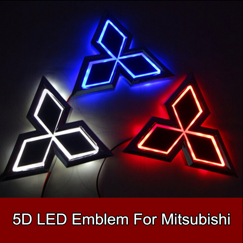 1pcs 5D Led Rear Emblem Logo Light Car Badge Bulb for Mitsubishi Galant Lancer Lioncel Zinger ASX Outlander 7.6cm X 8.7cm 1pcs 4d led rear emblem car logo light for ford focus mondeo car led badge bulb car styling