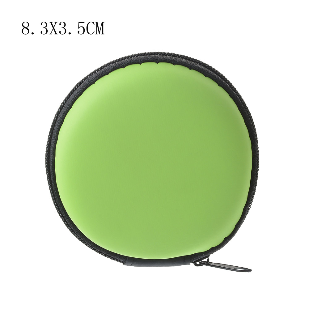 Чехол-контейнер для монет, наушников, защитная коробка для хранения, цветные наушники чехол для путешествий, сумка для хранения наушников, кабель для передачи данных, зарядное устройство - Цвет: green Round 8cm