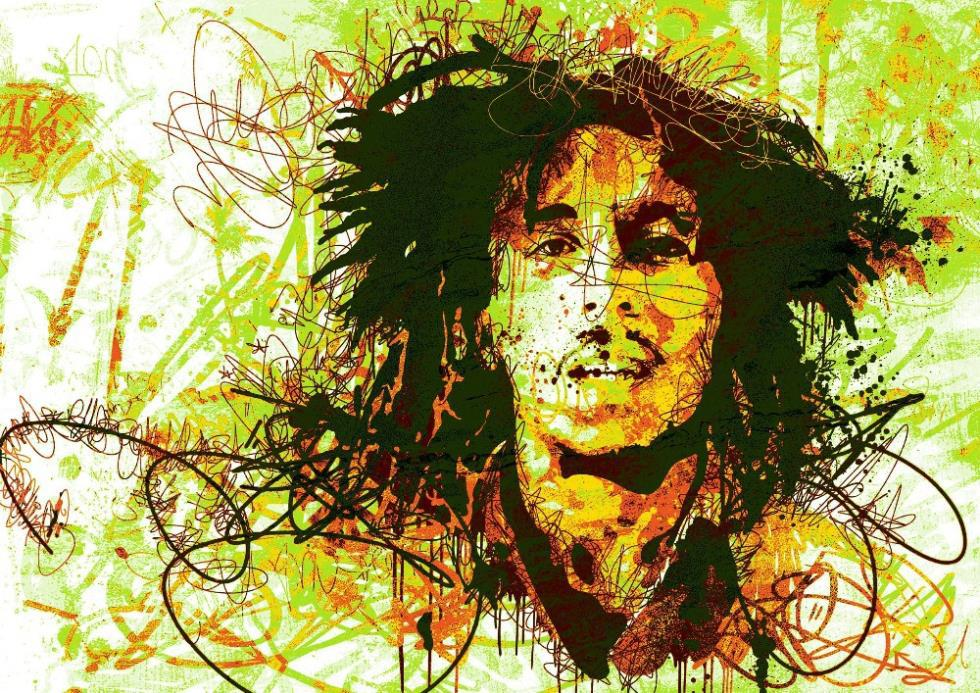 Hot Sale Bob Marley Colorful Lines Poster Custom Wallpaper Home Decoration HD Wall Sticker Size 20x30inch Free Shipping P247 In Stickers From