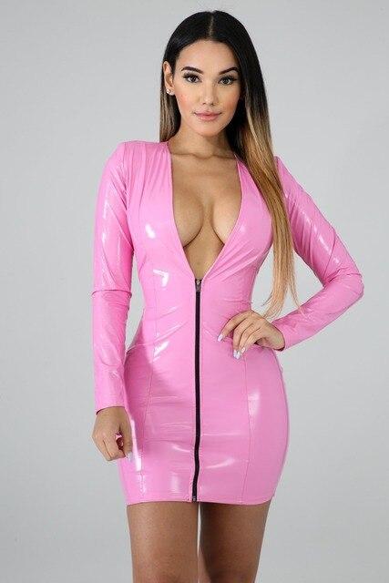 JRRY Women PU Leather Dresses Zippers Faux PU Leather Dress High Elasticity Sheath Dress Deep V Neck Faux Leather Short Dress 4