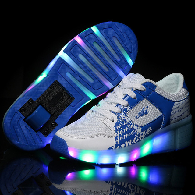 sports shoes cbb74 678b1 tenis de rodinha Kids Roller Skate Shoes Boys Girls LED Light up Glowing  Sneakers with Wheels