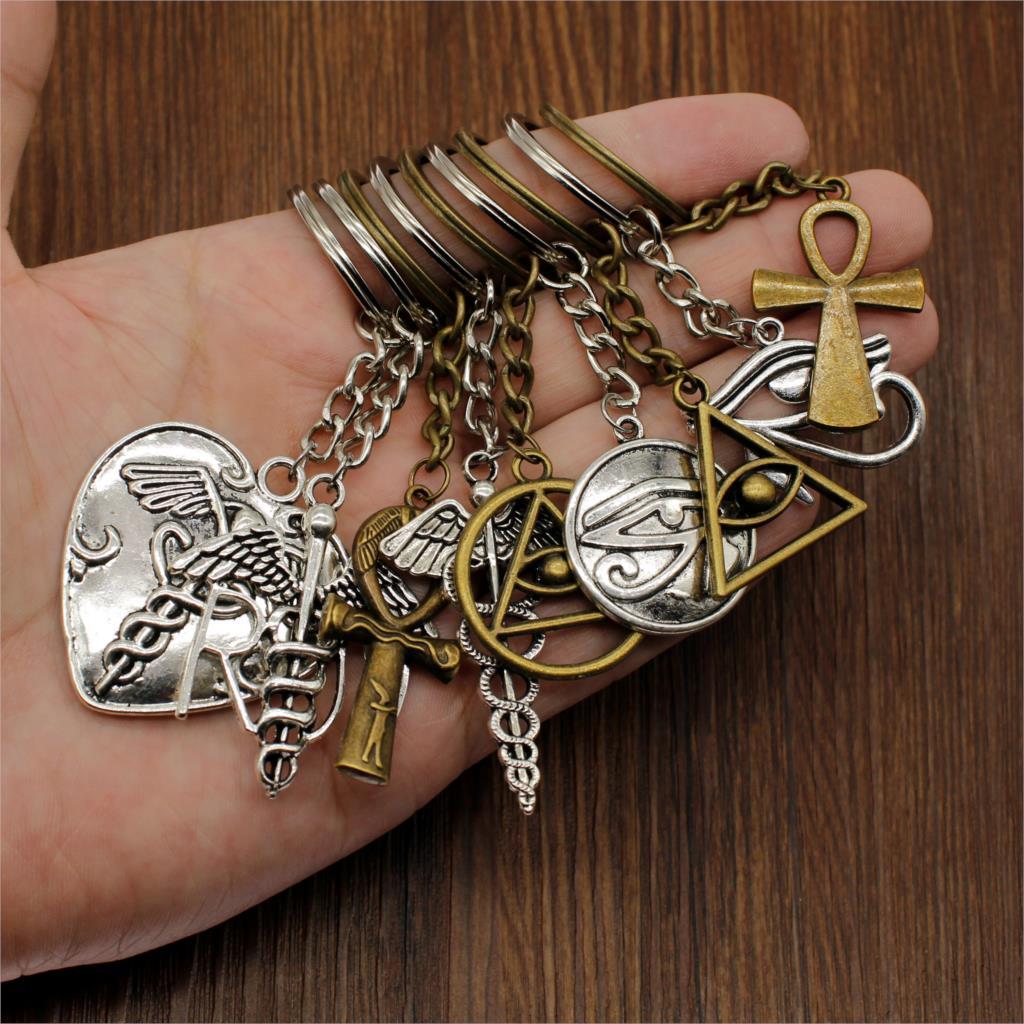 New Fashion Keychain Horys Eye Key-Rings Guardian Gifts Ankh Cross Keyring Car Keychain Handmade DIY Gift For Men Women