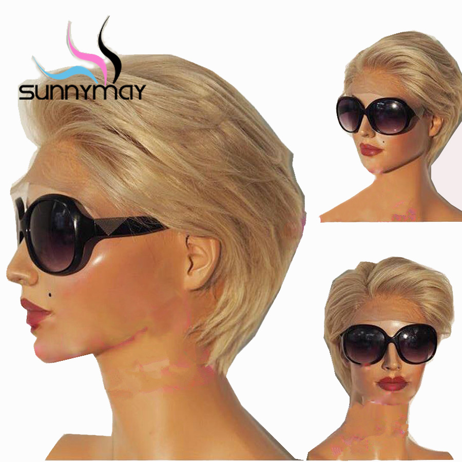 Sunnymay 13x4 Short Bob Wig Pre Plucked Blonde Lace Front Wig Glueless Straight Human Hair Wigs Remy Lace Front Human Hair Wigs
