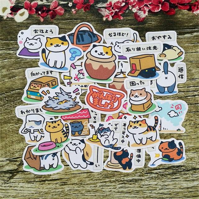 40 Pcs Fo R Nekoatsume Paper Sticker Homemade Pusheen Cat Bookkeeping Decals On Laptop Decorative Sbooking Diy Stickers