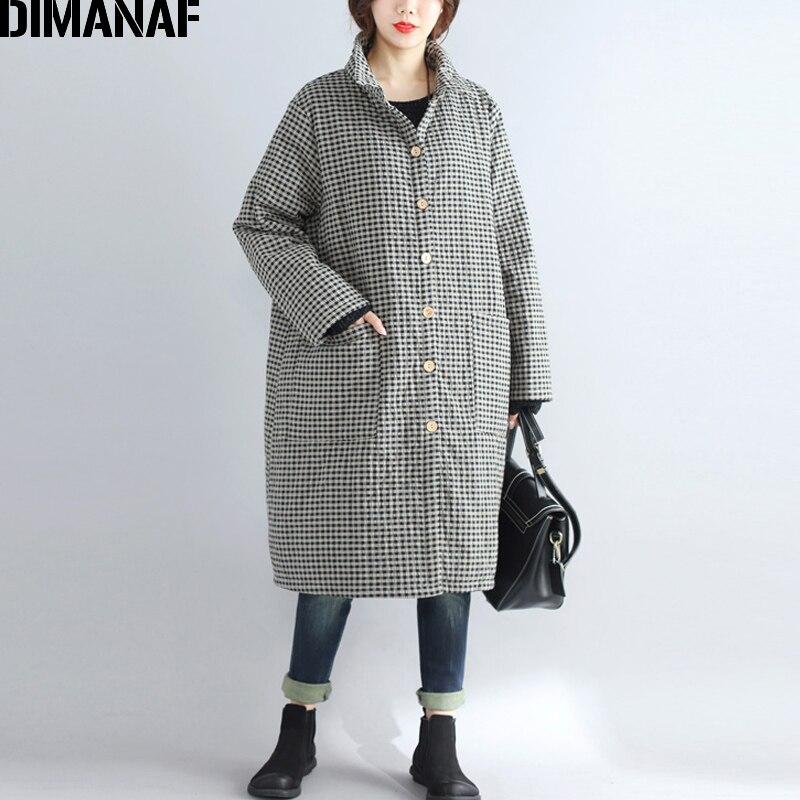 DIMANAF Women Parkas Long Coat Cotton Clothing Thicken Warm Autumn Winter Plus Size Female Vintage Plaid Loose Outerwear 2018