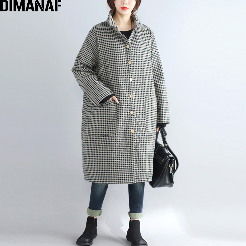 DIMANAF Women   Parkas   Long Coat Cotton Clothing Thicken Warm Autumn Winter Plus Size Female Vintage Plaid Loose Outerwear 2018