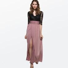 Summer V-Neck Lace Womens Dress Three-Quarter Sleeve Maxi Party Woman Night High Split White Loose Beach