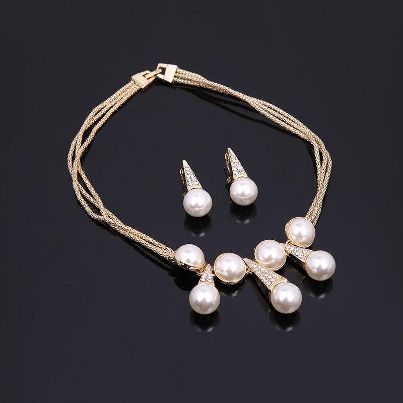 Kingdom Ma couleur or nigérian mariage perles ensemble de bijoux Dubai mariée demoiselle d'honneur Imitation perle de mariage élégant fête cadeau ensembles - 3