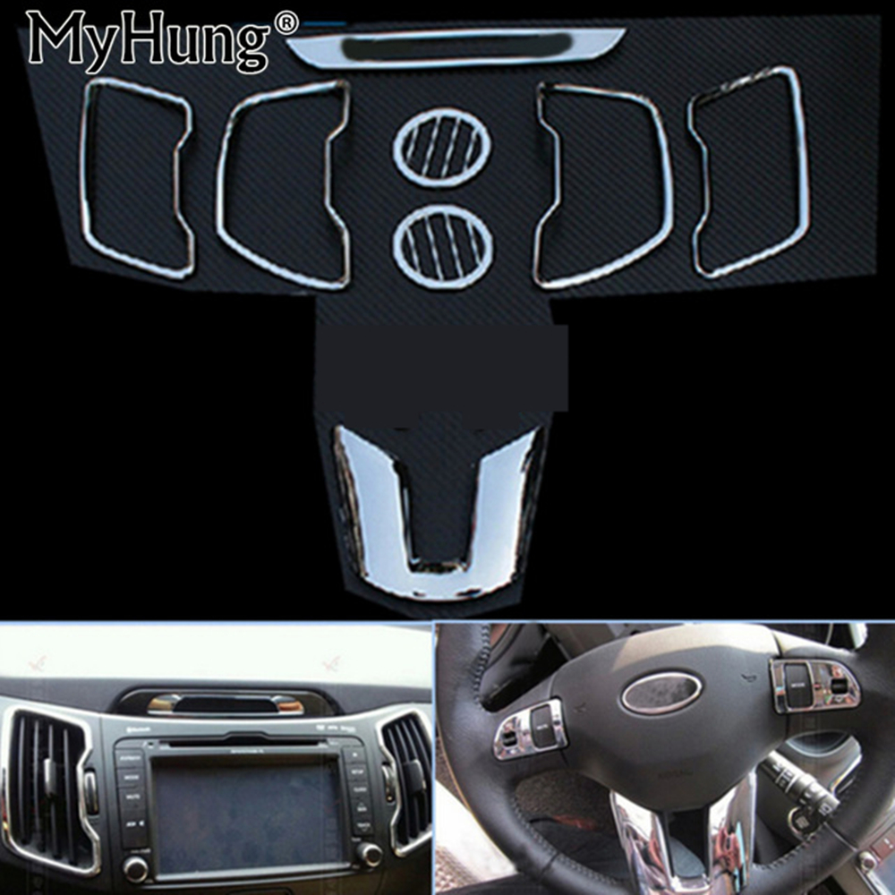 Fit For Kia Sportage R 2011-2016 2017 Inner Decoration ABS Chrome Trim Steering Wheel DVD Outlet Trim Accessories car styling внешние аксессуары myhung kia sportage 2010 2011 r abs 4