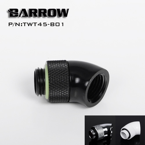Barrow Black White Silver G1/4'' thread 45 degree Rotary water cooling computer Fitting Adaptors 2PCS  TWT45-B01
