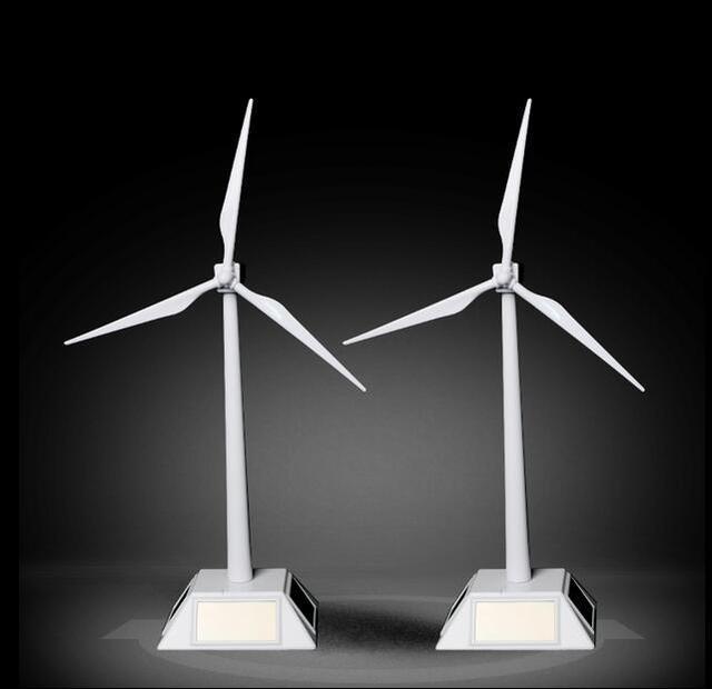 New Home Office Decoration ABS Desktop Model Solar Power Windmill Kids Adults Gift Wind Solar Turbine Toy 27cm freeshipping