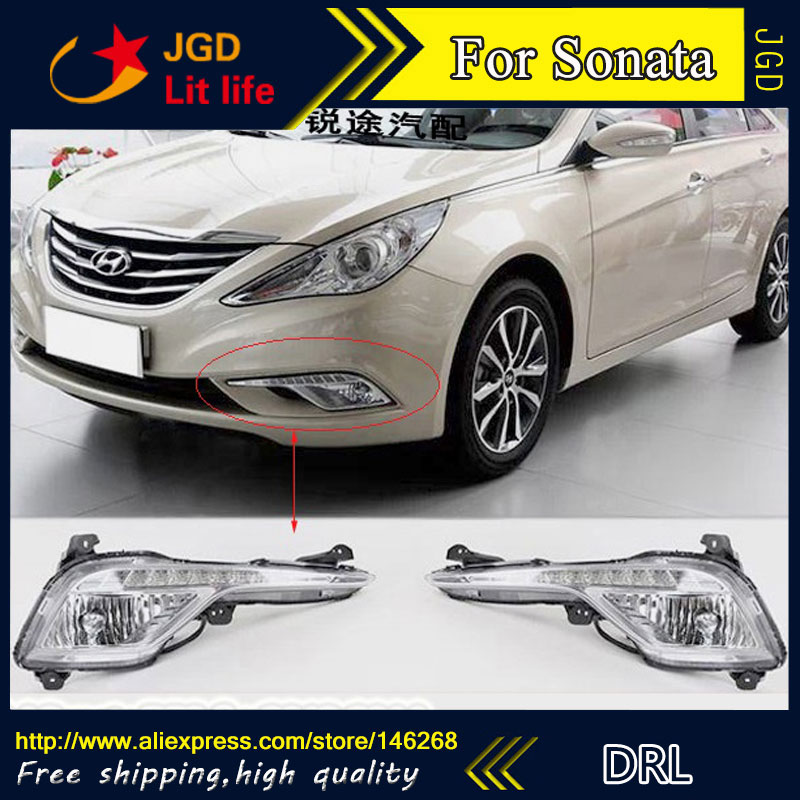 Hot sale ! 12V 6000k LED DRL Daytime running light for Hyundai Sonata 2013 2014 Fog lamp frame Fog light Super White hot sale 12v 6000k led drl daytime running light for toyota corolla 2007 2010 plating fog lamp frame fog light