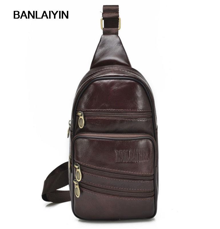 New Men Fashion Genuine Leather Messenger Shoulder Cross Body Bag Travel Sling Chest Back Pack