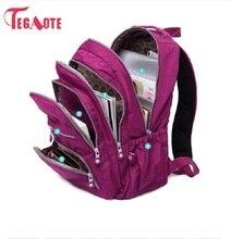 TEGAOTE กระเป๋าเป้สะพายหลังโรงเรียนสำหรับวัยรุ่นสาว Mochila Feminina ผู้หญิงกันน้ำไนล่อนแล็ปท็อป Bagpack หญิง Sac A Do