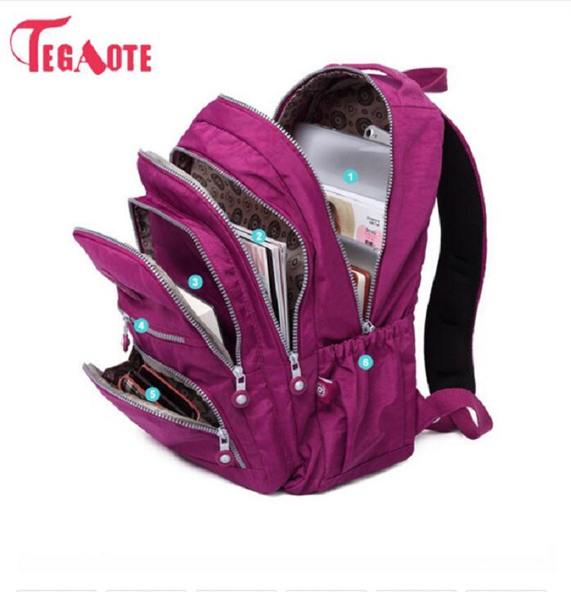 TEGAOTE <font><b>School</b></font> <font><b>Backpack</b></font> <font><b>For</b></font> <font><b>Teenage</b></font> Girl Mochila Feminina Women <font><b>Backpacks</b></font> Nylon Waterproof Casual Laptop Bagpack Female Sac A Do image