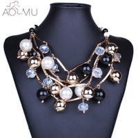 AOMU Fashion Jewelry Multi Layers Imitation Pearls Gold Metal Chains Collar Choker Necklace For Women Collier
