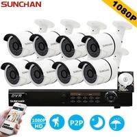 SunChan AHD L 8CH CCTV System 1080P DVR 1080P 3000TVL Outdoor Video Surveillance Security Camera System