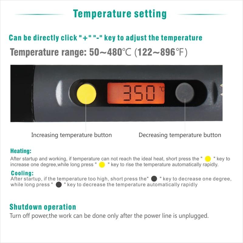 Electric Soldering iron 60W CXG LCD Adjustable Temperature EU plug Welding Solder Station Heat Pencil 2pcs Tips  (16)