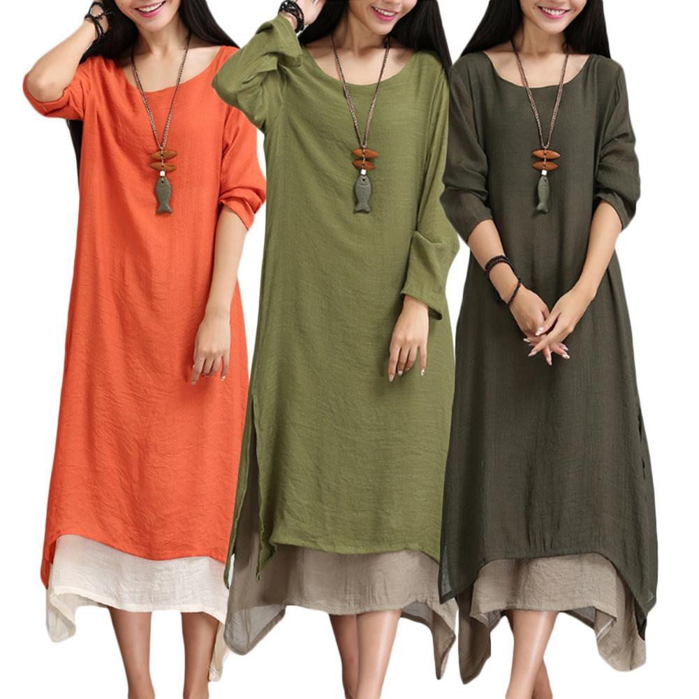 Loose Comforable Women Dress Retro Kaftan Large Size 2XL Long Sleeve Round Neck Dress Ankle Length Female Dresses 3 Colors
