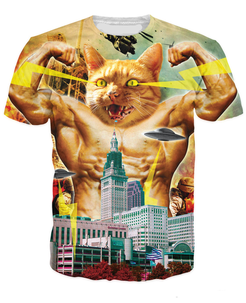 3D Print Godzilla Cat T-Shirt Lake Erie His Sick City Women/Men T-Shirt Summer Monster Tops tshirts