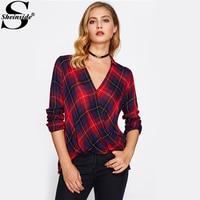 Sheinside V 넥 중백의 드리 워진 전면 격자 무늬 셔츠 여성 긴 소매 높은 낮은 캐주얼 탑 2017