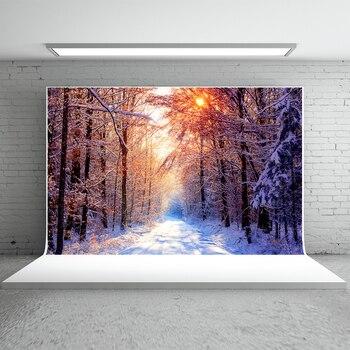 Kate зима Фоны для Аксессуары для фотостудий лес открытый живописные фон с солнцем стирка фото фон Материал Свадебные