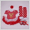 Hot Sale Brand New Santa Infant and Kids Christmas Gift Dress Stockings Shoes Hair Clips Jumpers Baby Girls Dress Set of Four