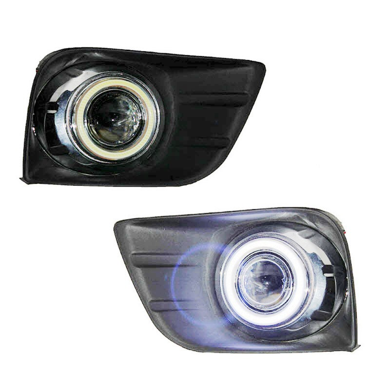 For Toyota Land Cruiser Prado J150 LED Angel Eyes DRL Yellow Signal Light H11 Halogen / Xenon Fog Lights with Projector Lens hireno headlamp for 2003 2009 toyota land cruiser prado headlight assembly led drl angel lens double beam hid xenon 2pcs