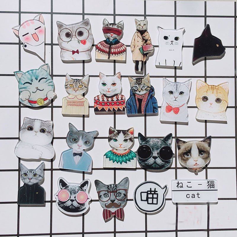 Animal Character Cosplay Acrylic Badges Set Irregular Cute Cat Brooch Pins Lion Backpack Clothes Decoration Brooches