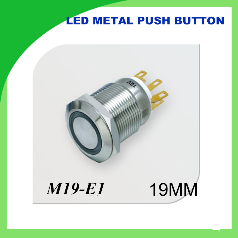 1pcs <font><b>19mm</b></font> 12V <font><b>LED</b></font> Latching Push Button Metal Switch ON/OFF Car Boat DIY with illuminated power symbol,Waterproof Stainless Steel