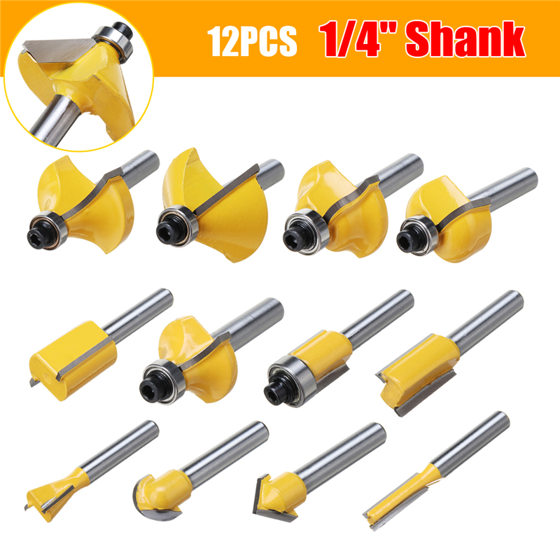 12pcs Milling Cutter Router Bit Set Wood Cutter Carbide 1/4 Inch Shank Mill Woodworking Trimming Engraving Carving Cutting Tools